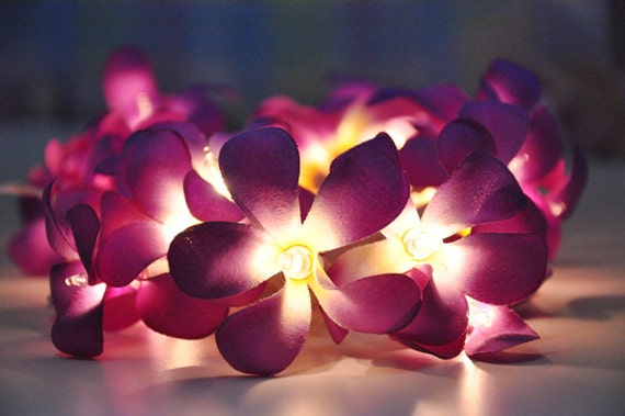 String Lights With Flowers : Purple Frangipani flower string lights for PatioWeddingParty