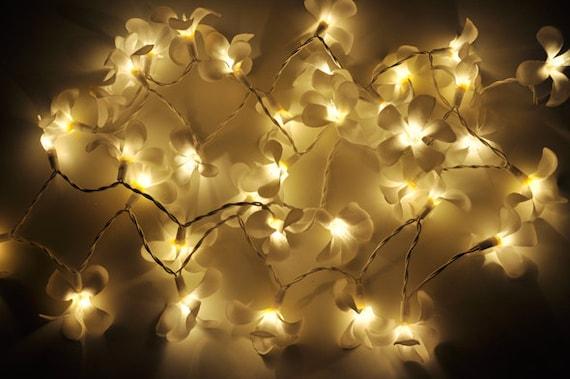 White frangipani flower string lights for patioweddingparty etsy mightylinksfo