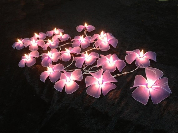 Flower String Lights Nz : Pale Purple flower string lights for PatioWeddingParty and
