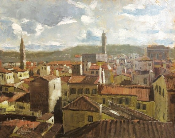 """Original oil painting of Tuscany, Italy: """"Florence, Italy, View from the Duomo"""", 11x14"""""""