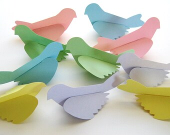 10 Large Pastel Birds die cut paper punch scrapbooking embellishments E1518
