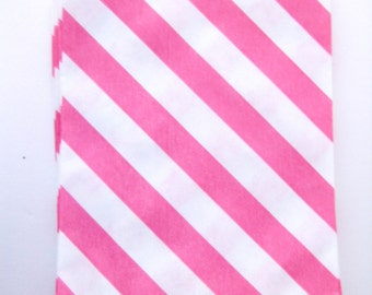 20 Pink Diagonal Stripe Mini Bitty Bags - Party Favor - Candy - Party Supplies A198