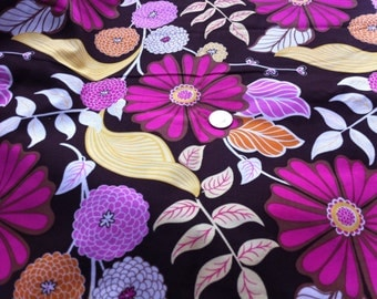New Brown Pink  Orange Gold Brother Sister Design Mod Flowers Floral Cotton Cordoroy Fabric One Yard Brother Sister Design 2 Yards Available