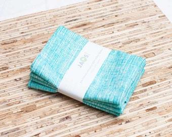 Small Cloth Napkins - Set of 4 - (N2279s) - Aqua Modern Reusable Fabric Napkins