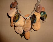 Hand made Terra-cotta beach pebbles statement necklace - creativedesignsstore