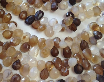 Chalcedony Faceted Briolettes- 11x9mm