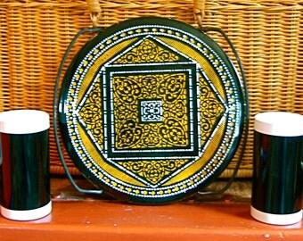Take 20% Off Beautiful Two Piece Black & Gold Spanish Tile Trivet