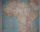 """Large Colorful Wall Map 24""""x19"""" Africa Vintage 1960 National Geographic Folded"""