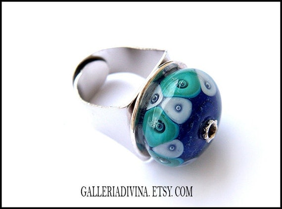 Lampwork glass ring - Cocktail ring - Turquoise and dark blue