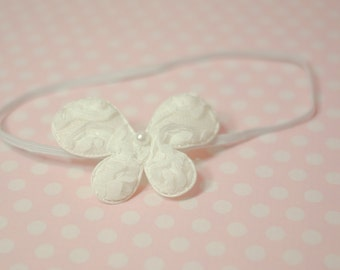 White Lace Rosette Butterfly Headband Newborn - 6 Month Baby Photography Prop