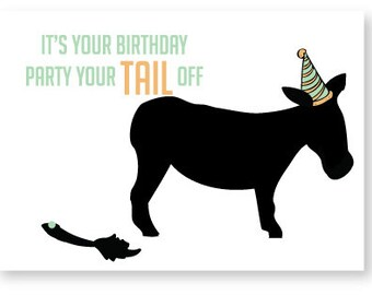 Pin the Tail on the Donkey Birthday Card