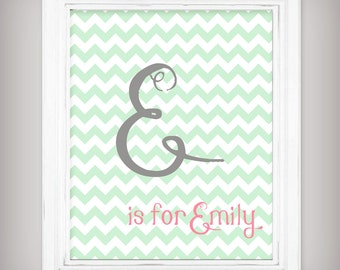 Personalized Initial and Name Nursery Art Print - Mint Green Chevrons with Pink and Gray - Select your size!