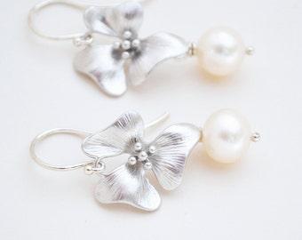 Cherry Blossom Flower, White Freshwater Pearl Earrings on Argentium Silver Hoops, June Birthstone, Pearl Blossom Earrings, Gift for Her