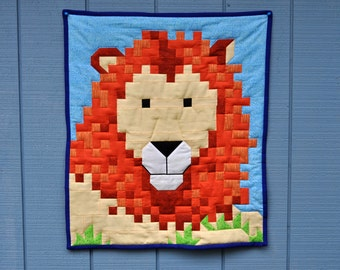 Lion quilt top pattern in 3 sizes