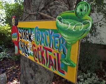 SCREW the CRACKER POLLY Wants A Cocktail -Tropical Paradise Beach House Pool Patio Tiki Hut Bar Drink Handmade Wood Sign Plaque