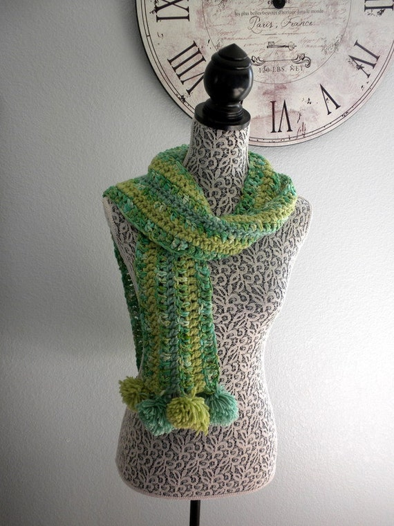 green sparkle ribbon pom pom scarf free shipping sale