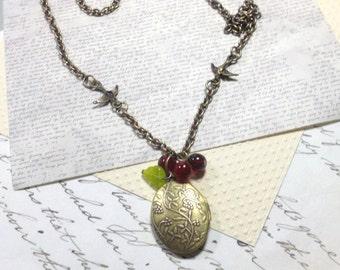 Locket Necklace, Brass Locket, Long Necklace, Romantic Jewelry, Women's Jewelry, Nature Jewelry