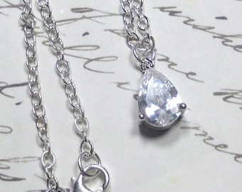 Cubic Zirconia Pendant, Clear CZ Pendant Necklace, Sterling Silver Chain, Women's Jewelry, Bridal Jewelry