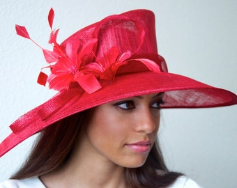 "Red Sun Hat - ""Alexandria"" Red Fascinator Sun Hat w/ mesh flowers and feathers"