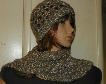 Earth and Sand Scarf and Hat Set Hand Crochet