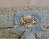 Marie Antoinette inspired blue and silver sparkling clutch bag ... FREE shipping within the US