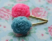 Flower Bobby Pins  Flowers Rose Roses Cabs Set Two Bridesmaid Flower Girls Blue Blossoms Pink