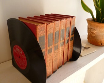 """Record Bookends Handmade from 12"""" Vinyl Records Unique Gift for music lover Recycled  LP Vintage Office Bookshelf"""