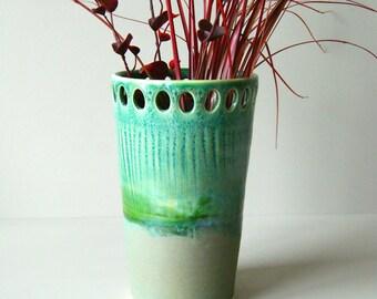"8"" Vase Moss and Cerulean Green, Handmade Wheel-Thrown Ceramic Pottery"