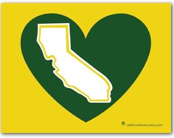 Oaktown A's California Heart Decal