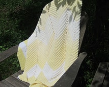 Vintage Yellow and Cream Crocheted Afghan, yellow afghan, yellow throw blanket, crochet blanket, striped blanket, yellow and white,