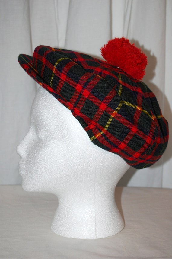 wool tam tartan plaid hat snap brim pom pom scottish by presouled. Black Bedroom Furniture Sets. Home Design Ideas