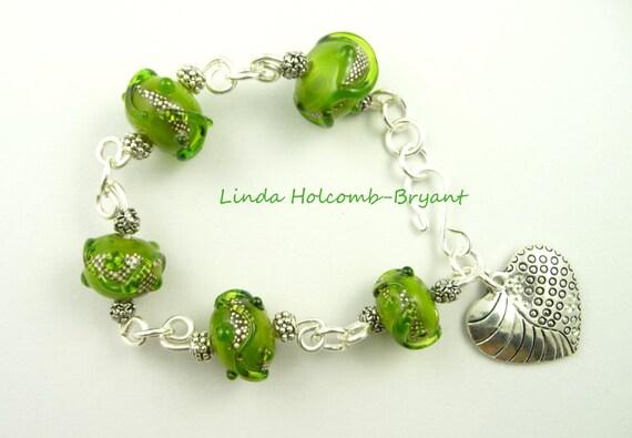 Bracelet of Olive Green Lampwork Beads