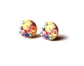 Floral studs post earrings- Flower post earrings- Button earrings- Romantic earrings- Summer fashion post earrings- minimalist jewelry