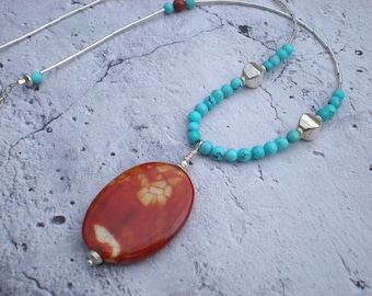Fire in the Sky necklace, bohemian summer, one of a kind jewelry by Grey Girl Designs on Etsy