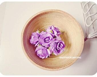 Millinery Heartshape violet Big flowers Buds paper flower  / pack