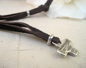 Rustic Artisan Cross Sterling Necklace on Adjustable Leather Strand