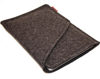 Kindle, Nook, eReader Wool Felt Sleeve/Case Double Pocket in Anthracite