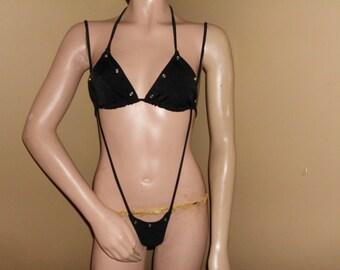 RHINESTONE SLINGSHOT strappy thong and bra set  stripper exotic dancer  set clubwear dancewear workout