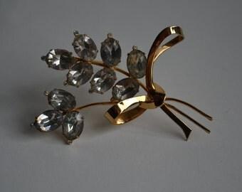 Vintage 1940s Coro Sterling Floral Brooch Flower Pin Rhinestone Vermeil
