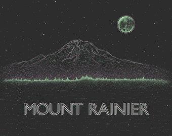Glow in the Dark Mount Rainier Screen Print by Izzie Klingels and Christian J Petersen