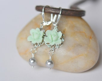 Mint Lotus Flower and Light Grey Swarovski Pearl Bridesmaid Dangle Earrings. Mint Wedding Earrings.