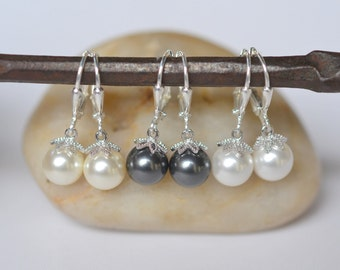 Simple Swarovski Pearl Dangle Earrings. Pearl Earrings.  Pearl Bridal Earrings.  Jewelry Gift for Her.  .