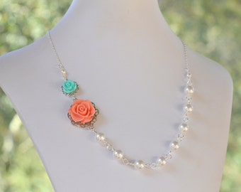 Bridesmaid Jewelry Coral and Aqua Rose Asymmetrical White Pearl Necklace.  Fashion Rose Necklace.  Wedding Jewelry. Bridal Party Jewelry.