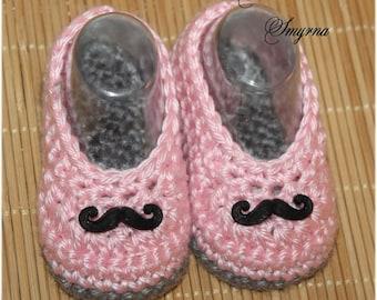 Crochet Shoes, Baby Booties Baby Girl Booties Ballet Slippers Mustache Booties Pink Gray  Moustache, Ballet Slippers