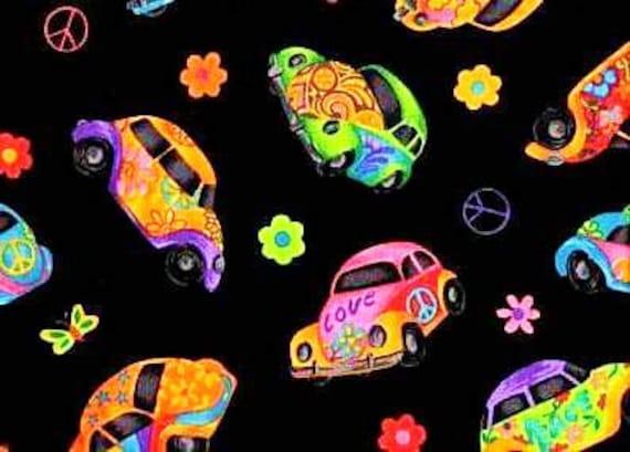 60 S Love Bug Fabric Vw Beetle Peace Sign Hippie Car