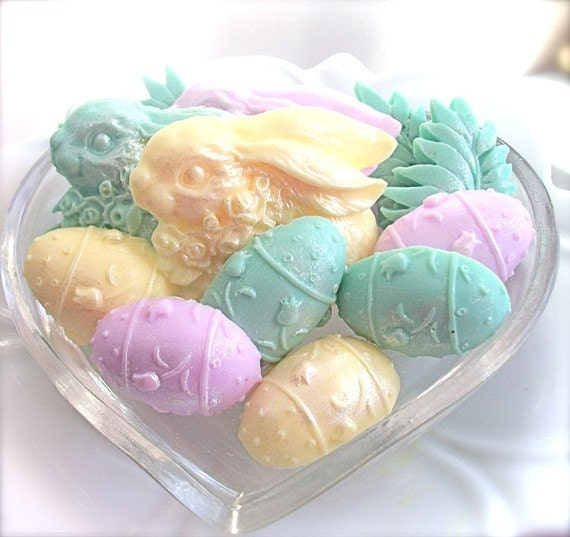 EASTER EGG SOAP, Easter Bunny Shimmering Pastels Soap, Scented in Green Clover and Aloe