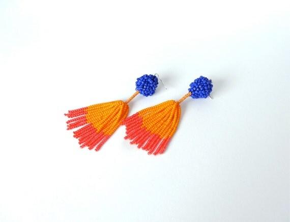 Color block earrings. Blue, pink and orange beaded fringe dangle earrings