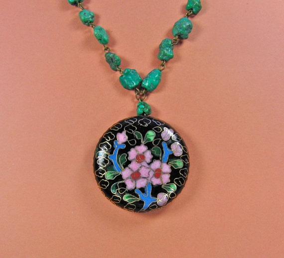 Vintage Miriam Haskell Champleve Enamel Necklace - Signed