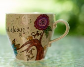 "Claude Monet ""I must have flowers, always and always"" Quote Mug - Hand painted - Medium, bowlish, spring green teacup mug  with pink flowers"
