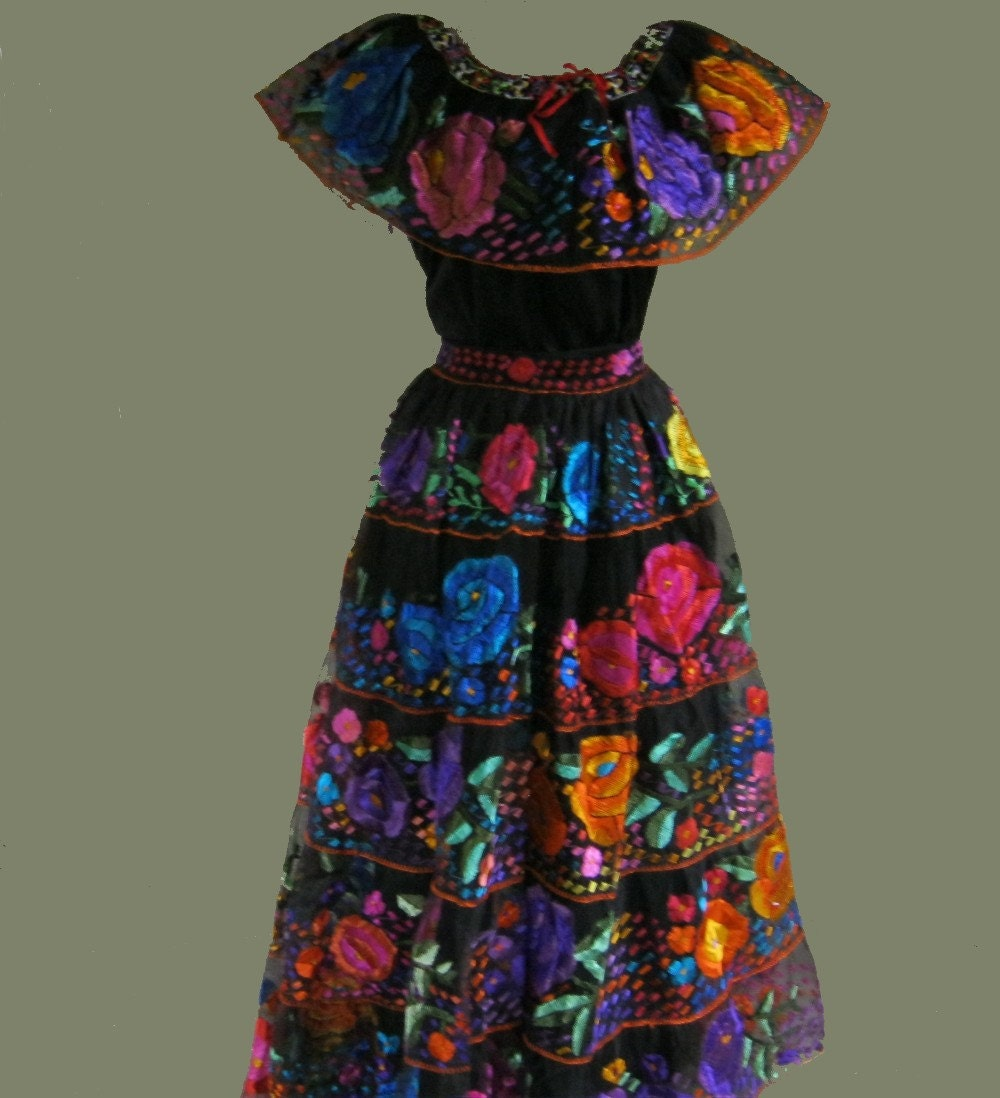 RESERVED FOR MONIQUE Mexican Embroidered Dress Chiapas